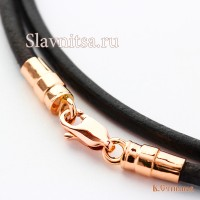 Купить кожаный шнурок на шею, с золотой или серебряной застёжкой